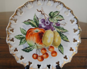 Fruit Plate - Apple, Lemon, Cherries, Grape - Vintage - Fabulous!