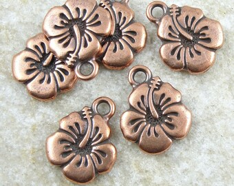 Hibiscus Flower Charms - Antique Copper Charms - Hawaiian Hibiscus Flower TierraCast Tattoo (P788)