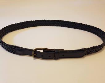Vintage Navy Blue Plaited Leather Belt Size Medium