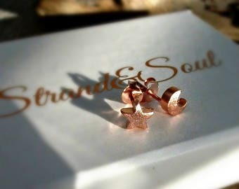 Rose Gold Star & Moon Stud Earrings - Brushed Matte Rose Gold Vermeil Finish - Gift For Her