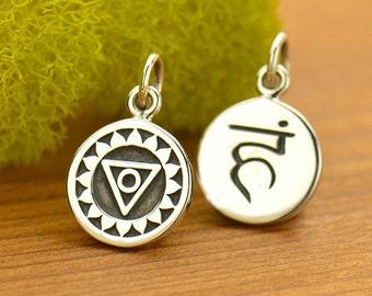 Sterling Silver Etched Throat Chakra Charm,Sanskrit Charm,Yoga Charm,Yoga Spirit Throat Chakra Jewelry,Chakra Channeling,7 Chakra,Yoga