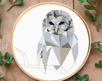 Cross Stitch Pattern Barred Owl, Geometric,  Cross Stitch Chart, Needlepoint Pattern, Embroidery Chart, Printable PDF, Instant Download