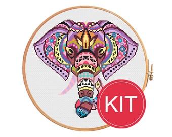 Cross stitch KIT Elephant mandala modern cross stitch pattern