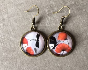 Poppy / Dragonfly / Butterfly - 20mm glass cabochon bronze earrings