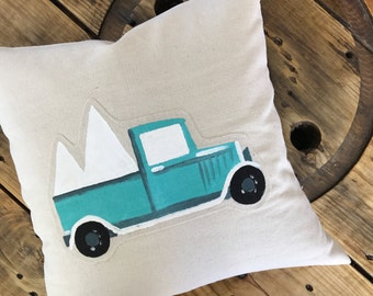 Turquoise Vintage Truck Christmas Tree Pillow Cover