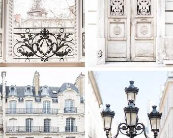 Paris Photography Set - Paris in Cream, Eiffel Tower, Paris Door, Paris Apartment, Four Fine Art Photographs, Urban Decor, Large Wall Art