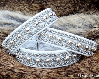 Sami Bracelet, YDUN Arctic White Viking Wedding Jewelry Leather Cuff with Silver Beads in Pewter Braids, Handmade Nordic Elegance