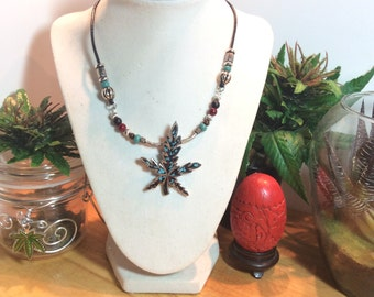 Weed of Blue Derams, weed necklace, 420 Necklace, Pot leaf Necklace