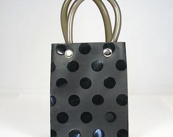 Embossed Handle Plastic Mini Tote Bag - Black , Party Favor Bag , Set of 12