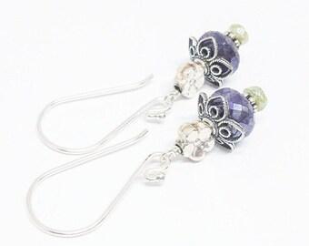 25% OFF Mystic Sapphire and Vesuvianite Gemstones . Sterling Silver Dangle Drop Earrings . Blue Green Dangle Earrings . Free Shipping . E180