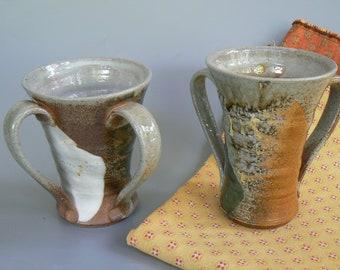 wood and soda fired, Ceramic Wedding Gift, Judaica Hand Wash Cup Netilat Yadayim, Natla, passover gift, Israel, Jewish Ritual