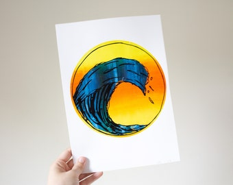 Colourful Wave - Screenprint A4 - Exclusive print