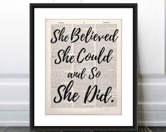 She Believed She Could and So She Did Quote, Dictionary Page Art PRINT, Valentines Gift, Gift for Her, Dorm Graduation Gift, Book Lover Gift