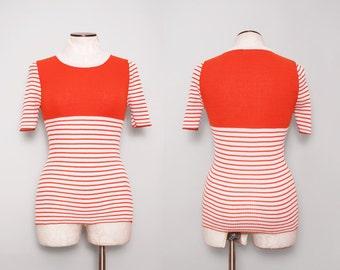 1970s Retro Sweater / Vintage 70s Orange Striped Sweater / Small