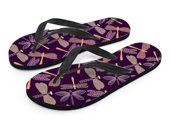 Unique Dragonfly Flip Flops, Spring & Summer Flip-flops, Custom Decorated Women's Flip Flops, Pool Beach Flip Flops, Dragonfly Lover Gift