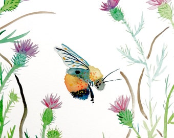 """Watercolor Painting, Bee in Thisle, Giclee Print 8""""x10"""""""