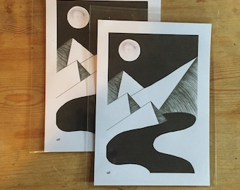 A5 orginal river print