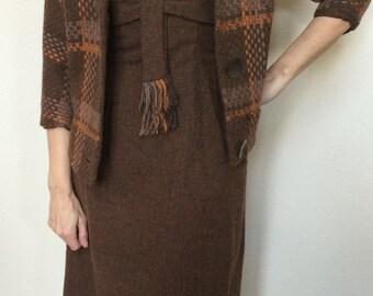 1950s Paul Sachs Original Wool Tweed Suit Dress