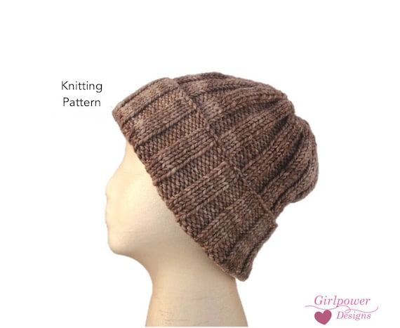 Ribbed Beanie Knitting Pattern Knit Hat Pattern Quick Easy Pattern