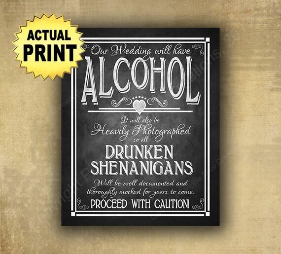 Printed Wedding Sign, Wedding Bar Sign, Drunken Shenanigans, wedding alcohol, chalkboard wedding, wedding prints, wedding signs, bar signage