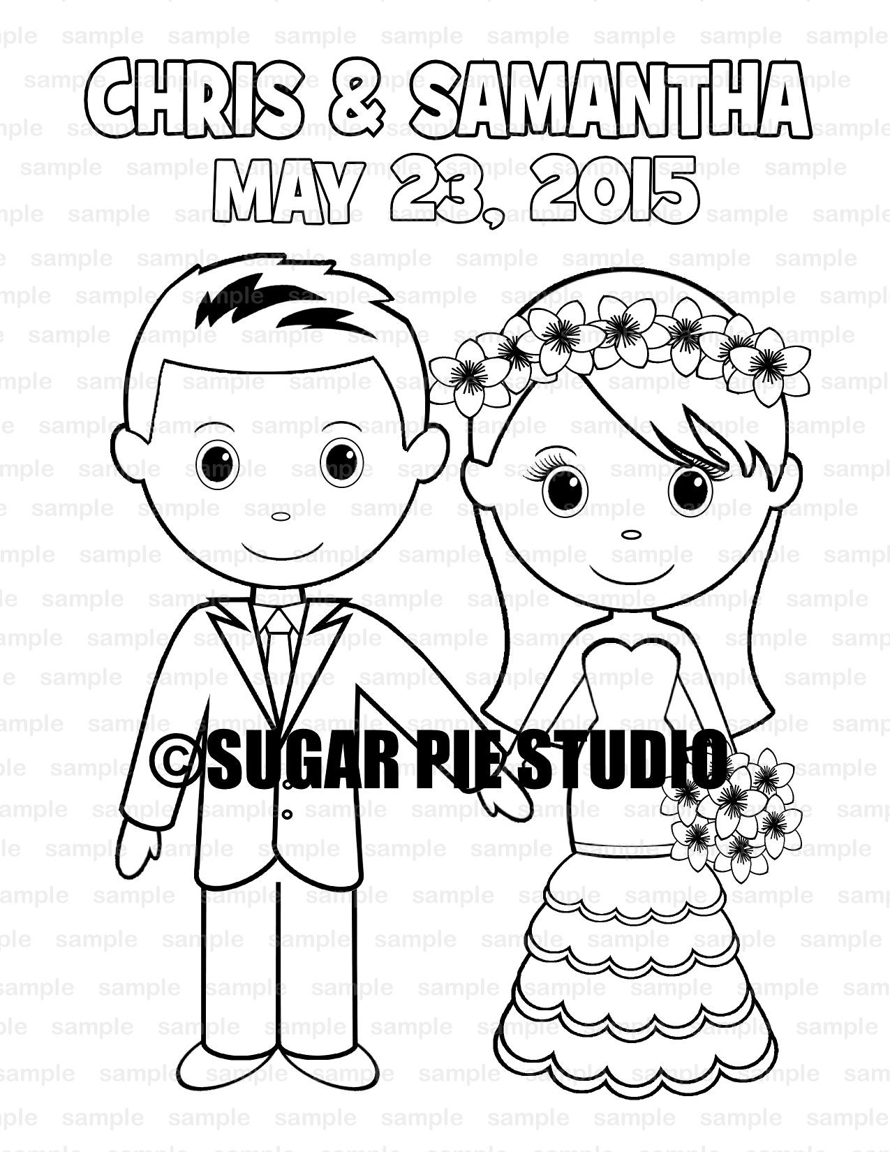 Wedding coloring book activity Favor Kids 8.5 x 11 PDF or JPEG TEMPLATE