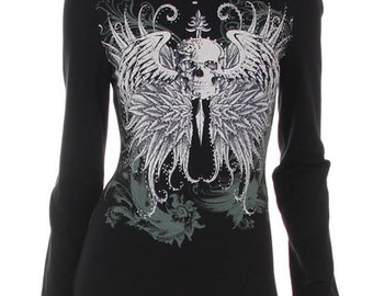 Long Sleeve Skull Shirt 3/4 Zipper Turtle Neck