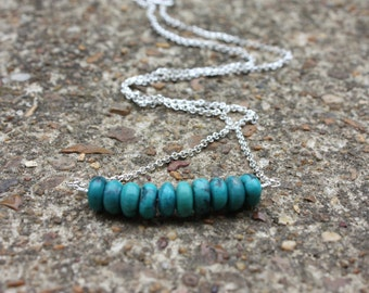 Turquoise Necklace - Turquoise And Silver - Sterling Silver Necklace - Turquoise Bar Necklace - December Birthstone Necklace - Gemstone