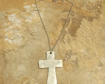 Pewter Large Hammered Cross Charm on a Link Chain Necklace - Free Shipping in the US -0030