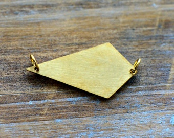 1 - Kite Geometric Charm Link Brushed 24k Gold Plated Stainless Steel Geometric Layered Charm Minimal Jewelry Pendant (AS021)