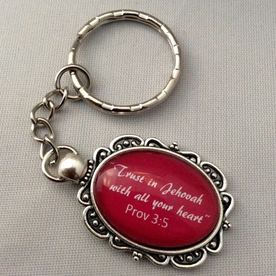 "JW Fancy Keychain  Prov. 3:5 ""Trust in Jehovah"" in Red. #101"