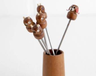 Vintage Short Fondue Forks, Set of 5, Four Owls and One Dog in Small Wood Vase or Holder