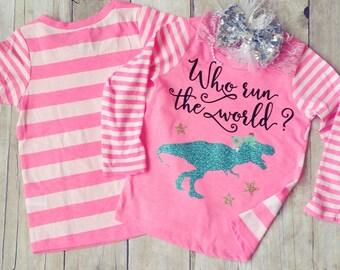 T Rex Shirt, Dinosaur Shirt, TRex Shirt, Girl Dinosaur Shirt, Toddler Dinosaur Shirt, Dino Shirt, Who run the world, Girls, Jurassic Shirt