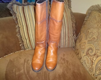 Camel Brown Leather Tamaris Knee Boots 39/9M