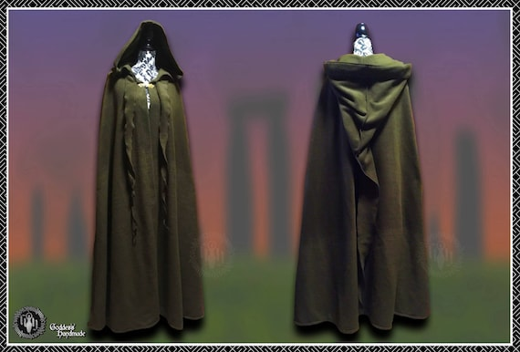 Monks robes, enclosed front, pagan robes, druid, wicca, magick, sorcerer, LARP, Rennaisance festival and fayres, removable cape