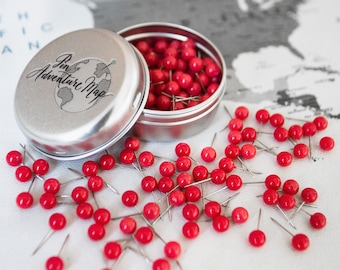 Red Push Pins for Travel Map / Pin on Map, Red Pinboard Tacks, Metal / Plastic Pins