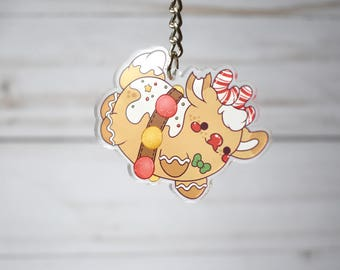 Kawaii Gingerbread Rudolph the Reindeer Nugget Acrylic Christmas Charm Keychain