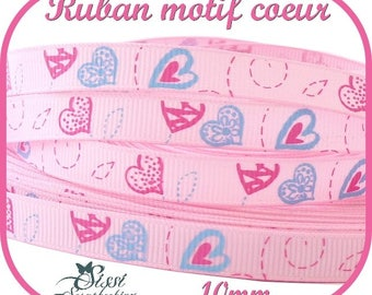 GROS GRAIN LOVE HEART RIBBON LOVE HEART PINK
