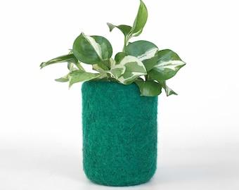 Vase de feutre feutre crayon Pot Emerald Green Home Decor cylindre tricoté pendaison de crémaillère d'hôtesse cadeau incassable doux enfants crèche