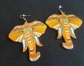Large orange wood elephant earrings