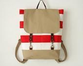 Red stripe canvas backpack, laptop backpack, diaper bag, diaper backpack,  work bag, school bag with 2 front pockets, Design by BagyBags