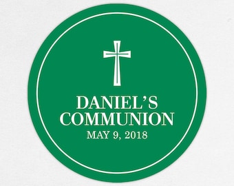 First Communion Favor Labels, First Communion Stickers, Printed Communion Tag, First Holy Communion Favor Tag, Boy Communion, Daniel, Green