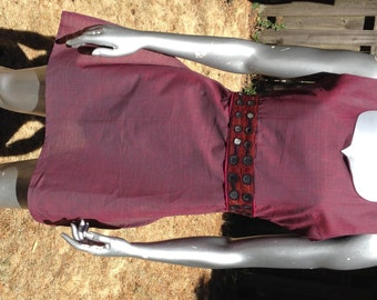 SALE! Tribal Mirrored Embroidery Empire Tunic from Rajasthan, India – XL – Maroon Cotton base