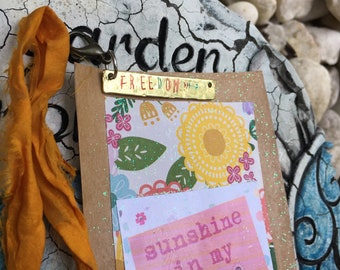 Sunshine in My Soul - Mixed Media Metal Stamped Word with Artist Card: metal stamped necklace pendant charm ornament decor