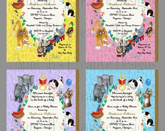 Little Golden Book Baby Shower Invitation, Golden Book Shower Invitation, Golden Book Baby Shower Party Packs