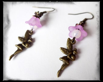 sweet Elf earrings with sparkling beads and flowers
