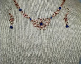Copper and Blue Filigree Necklace and Earring Set