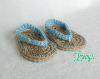 Crochet Baby Flip flops in Any Color / Soft Sole Baby Sandals