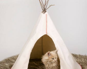 Buckskin Canvas Plain Pet Tipi for Cats or Small Dogs With Faux Fur dark brown rug