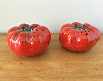 Italian Majolica Tomatoes Salt and Pepper Shakers Set