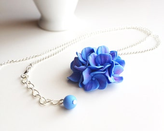 Hydrangea pendant, hydrangea necklace, polymer clay necklace, flower touch, flower pendant, polymer clay flowers, handmade jewelry, blue